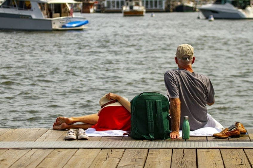 Couples enjoying the view of waterfront Annapolis homes